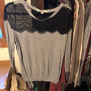 Grey and black lace sweater